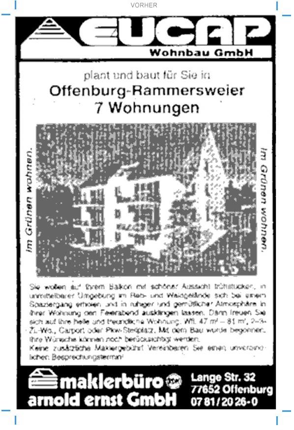 Anzeigengestaltung (vorher) für Bauträger Immobilienvertrieb