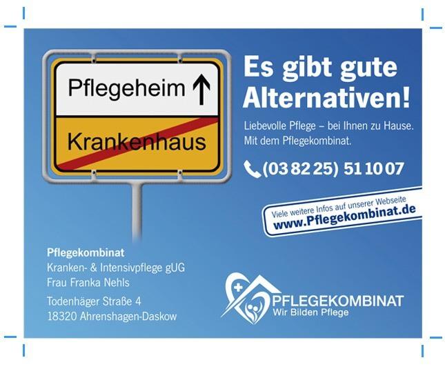 Anzeigengestaltung Anzeigenbeispiel ambulanter Pflegedienst