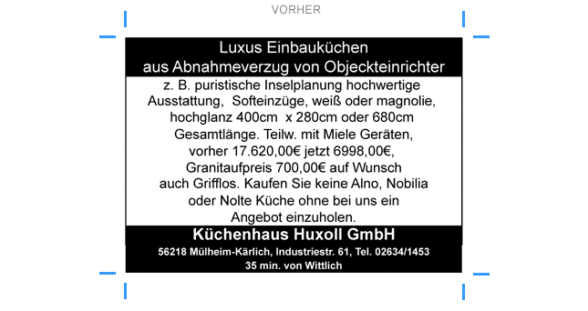 alte Anzeige Küchenhaus Huxoll
