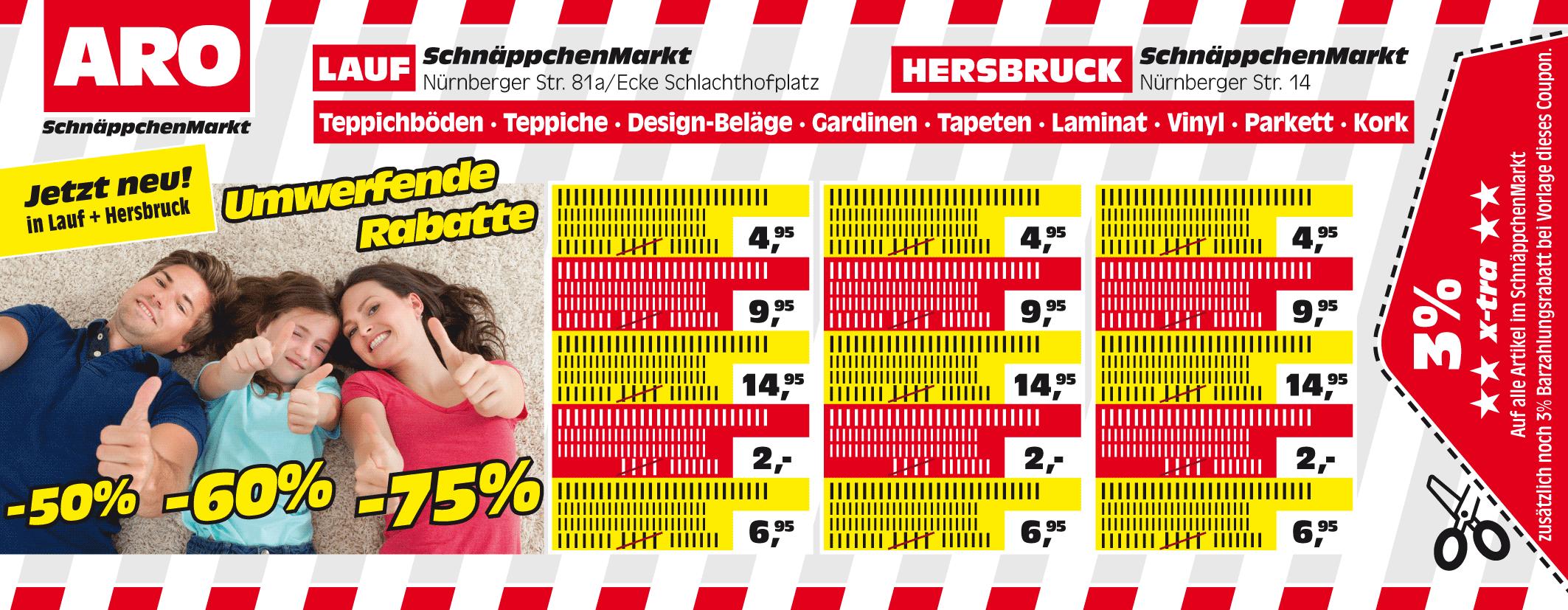 Aro Nürnberg anzeigengestaltung für einen heimtextilien discountmarkt