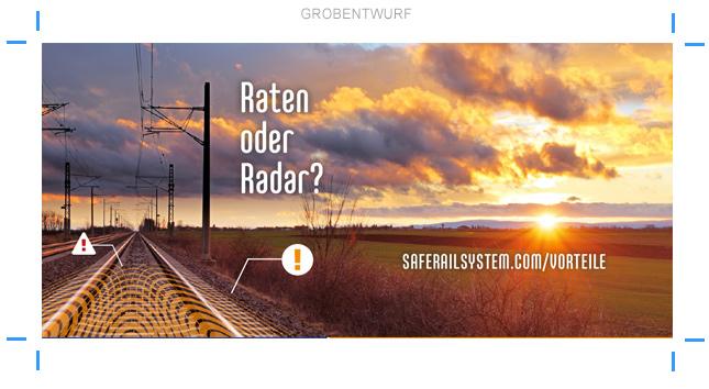 Anzeigenentwurf Layoutstudie Eisenbahntechnik Georadar Geophysik