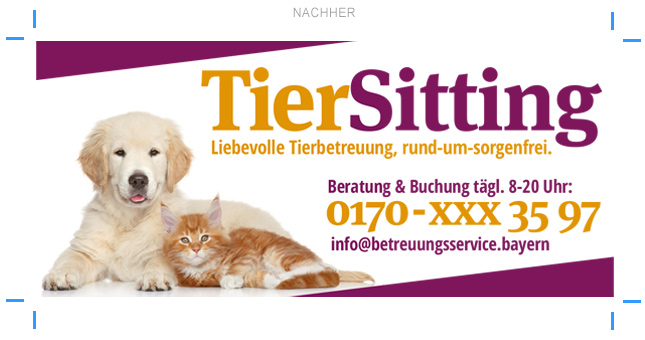 Tiersitting-Tierbetreuung Anzeigenwerbung Anzeigengestaltung