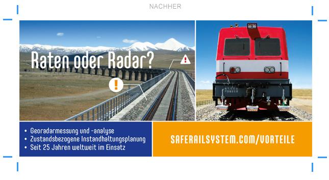 Anzeigenlayout Anzeigenbeispiel Eisenbahntechnik Georadar Geophysik