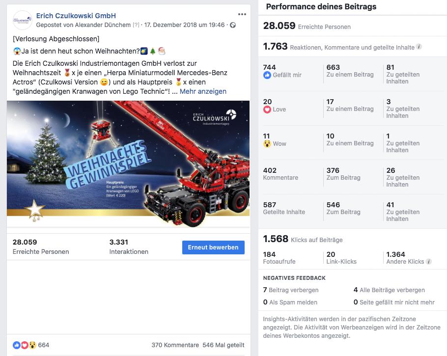 Facebook Statistik Gewinnspiel-Posting